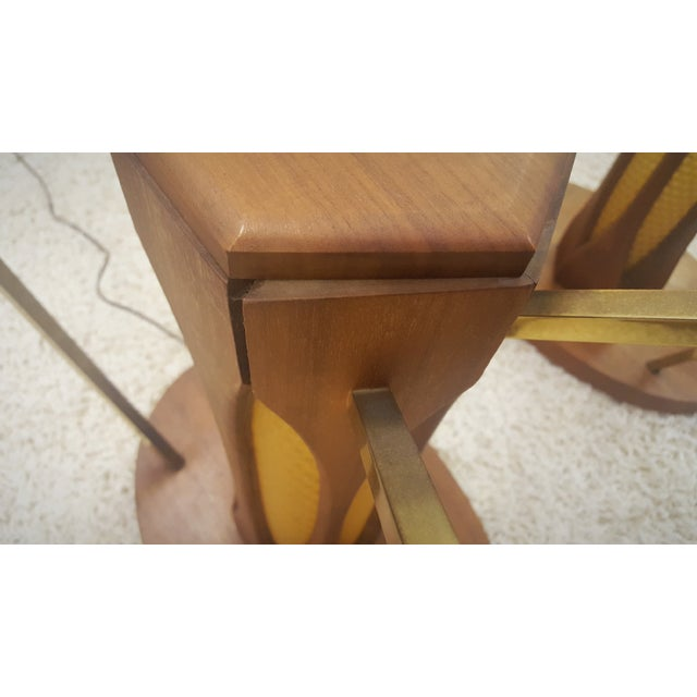 Mid-Century Brass & Glass Lighted Side Tables - Image 8 of 10