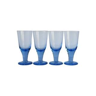 Vintage Blue Cordial Glasses - Set of 4