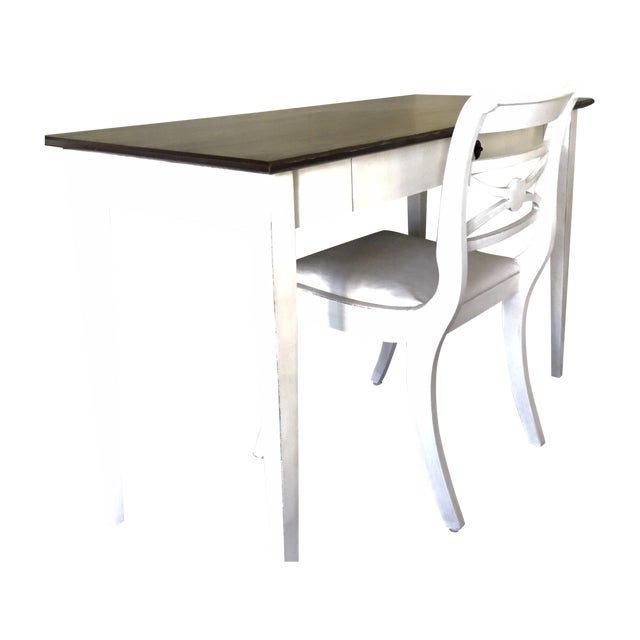 Computer Desk and Chair with Bronze Hardware - Image 1 of 7