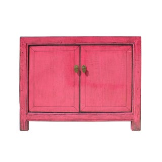 Oriental Simple Pink Credenza Sideboard Buffet Table Cabinet