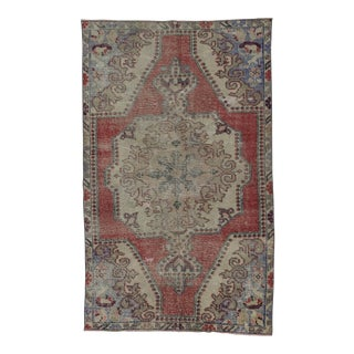 "Vintage Distressed Turkish Area Rug - 4'2"" x 6'11"""