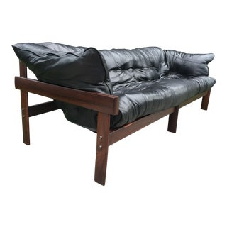 Percival Lafer Brazilian Rosewood Leather Sofa
