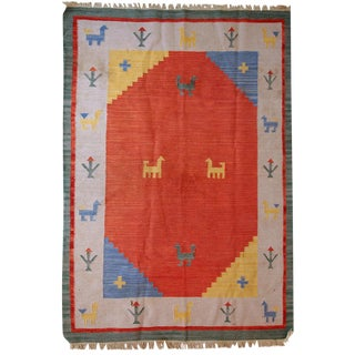 Vintage Handmade Persian Gabbeh Kilim - 5′7″ × 7′6″