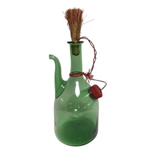 Vintage Italian Green Blown Glass Wine Carafe