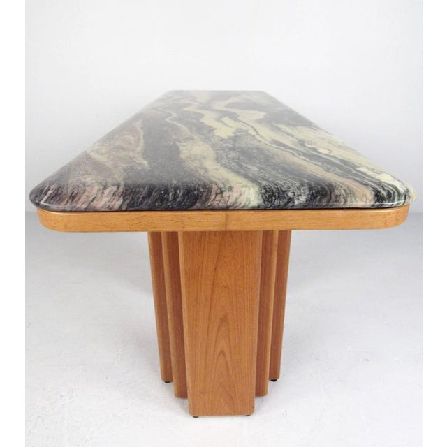 Mid-Century Teak and Marble Console Table by Bendixen Design - Image 5 of 11