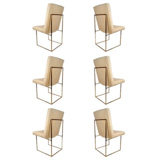 Set of Six Milo Baughman Architectural Brass Dining Chairs