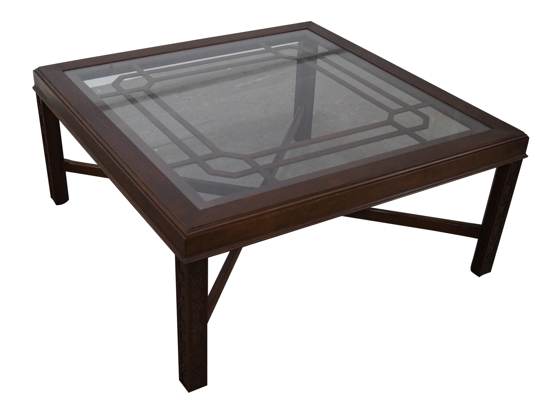 Chippendale Style Cherry Glass Top Coffee Table