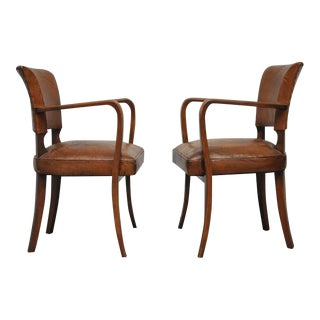 French Bridge Armchairs in Original Leather