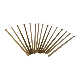 Mid-Century Gold Cocktail Stirrers - Set of 15