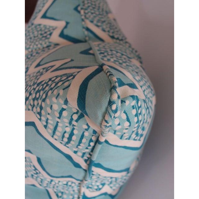 Quadrille Fabric Turquoise Zig Zag Pillow - Image 3 of 3