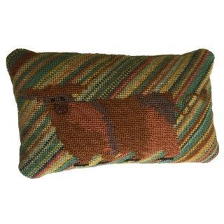 Vintage Needlepoint Yak Pillow