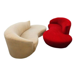 Curved Kidney Chrome Ultrasuede Sofas - A Pair