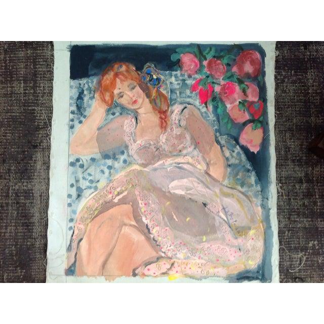 Image of Vintage Painting Lea Avizedek Woman W/ Flowers