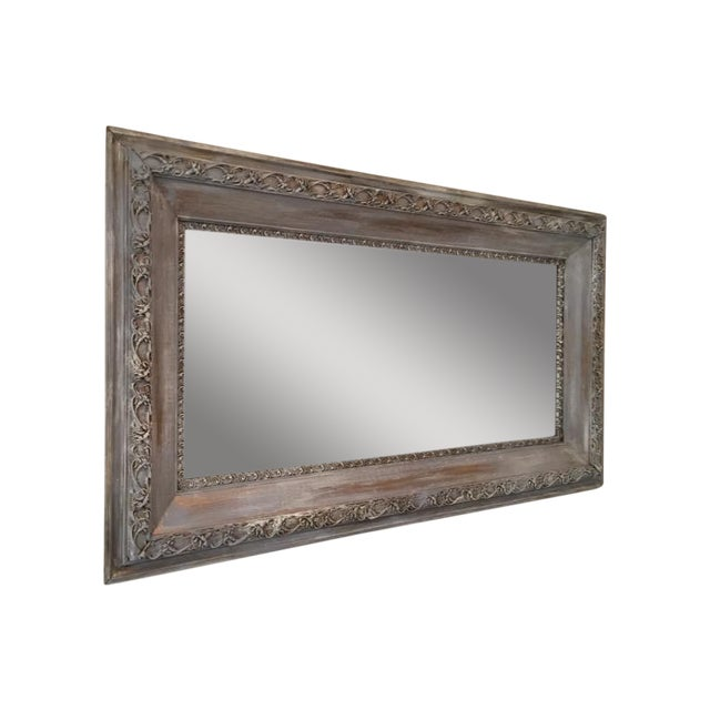 Vintage French Shabby Chic Gray & White Mirror - Image 1 of 4
