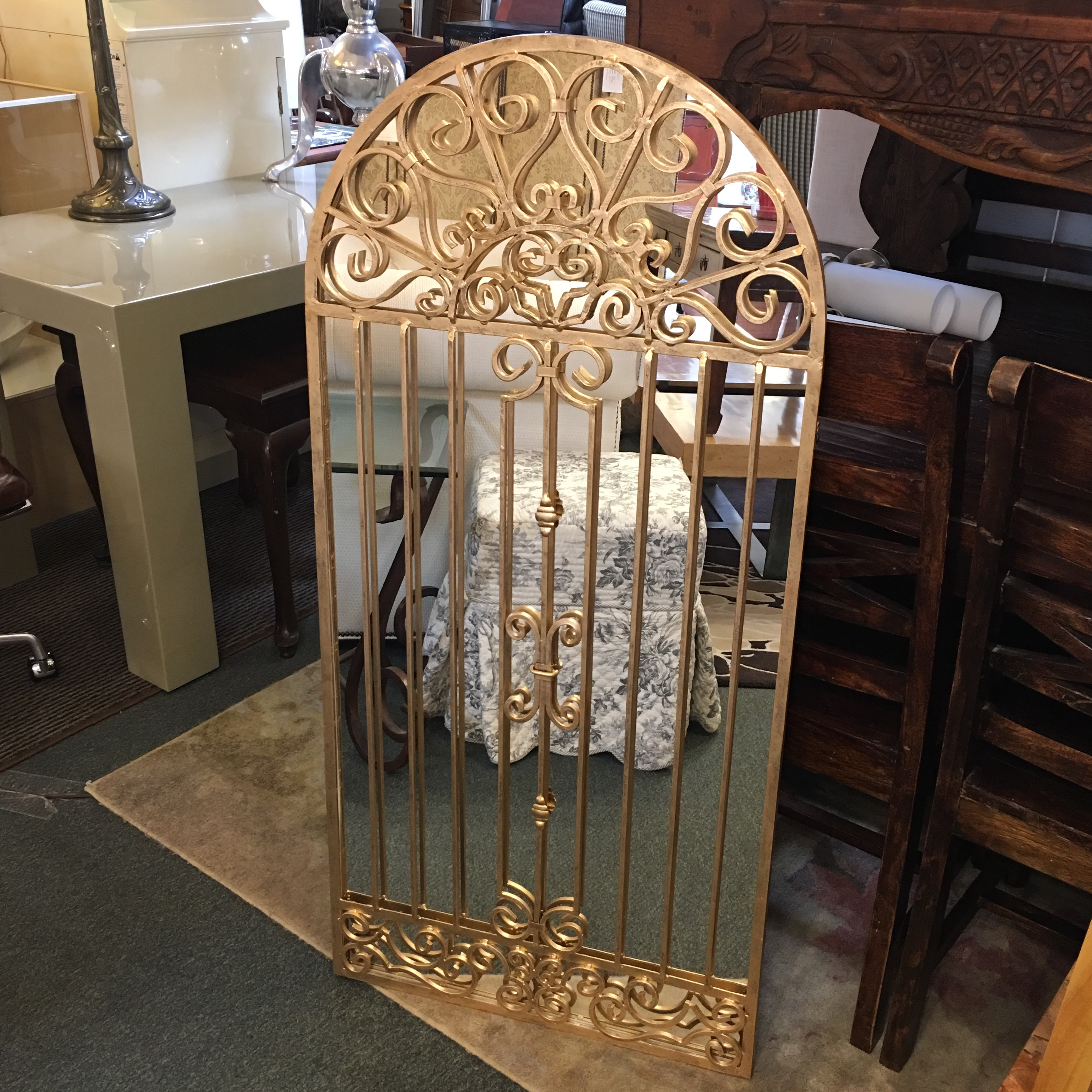 Gilt Finished Garden Gate Wall Mirror   Image 2 Of 10