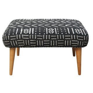 Upcycled Footstool with Black and White Mudcloth