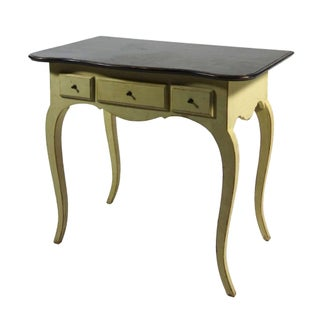 French Country Yellow Side Table With Curved Legs