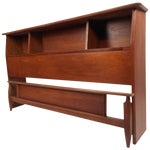 Image of Mid-Century Modern Queen Size Bookshelf Headboard and Footboard