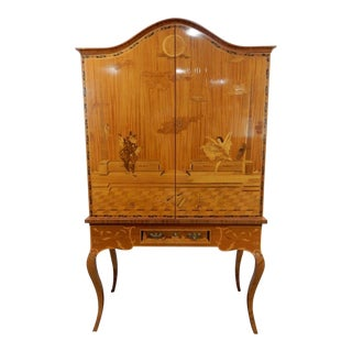 Rosewood and Satinwood Inlaid German Cabinet Artist Signed