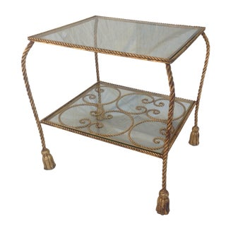 Antiqued Gilt Rope & Tassel Tier Vanity/Side Table