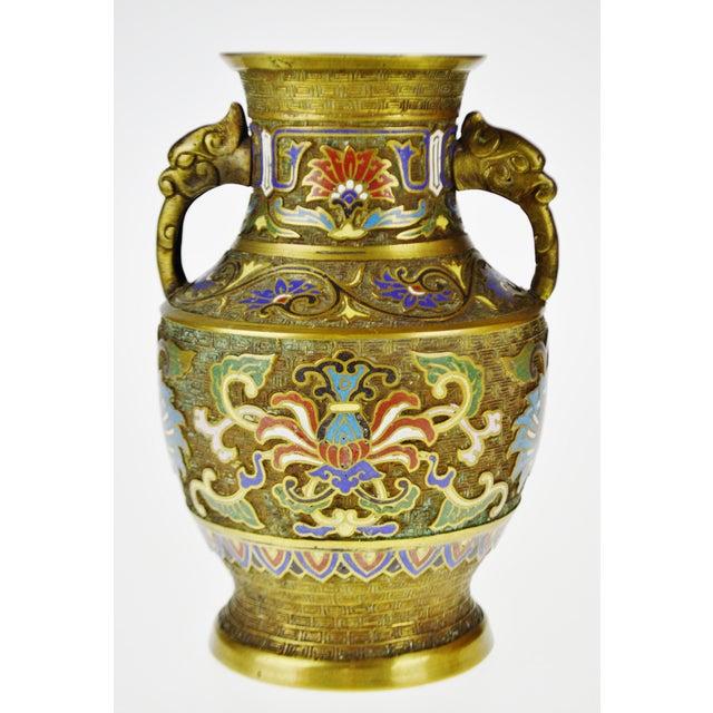 Vintage Japanese Brass Champleve Urn Shaped Vase with Figural Handles - Image 2 of 11