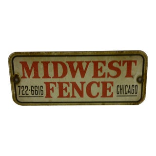 "Vintage 1930s ""Midwest Fence"" Porcelain Sign"