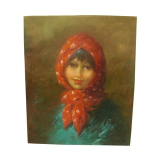 Vintage Painting of Young Woman in Red Scraf