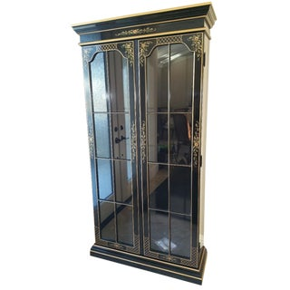 Ethan Allen Black Chinoiserie Curio Cabinet