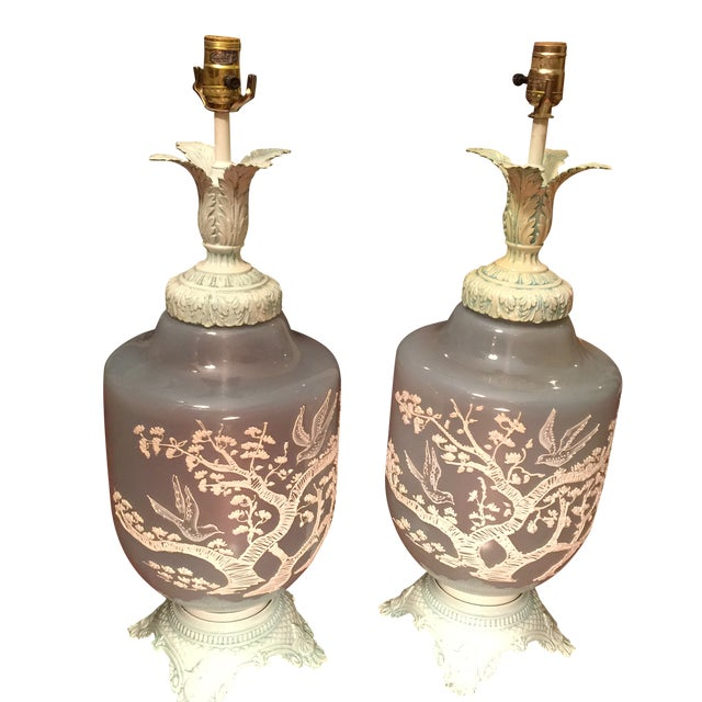 Vintage Glass Table Lamps - A Pair - Image 1 of 5