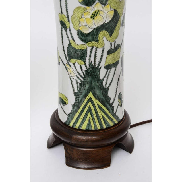 Image of 1960s Japanese Porcelain Lotus Flower Vase Form Table Lamps