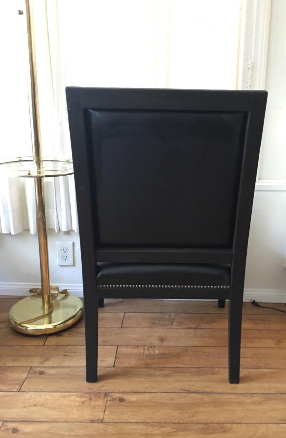 William Switzer Black Leather Arm Chairs   Pair   Image 4 Of 6