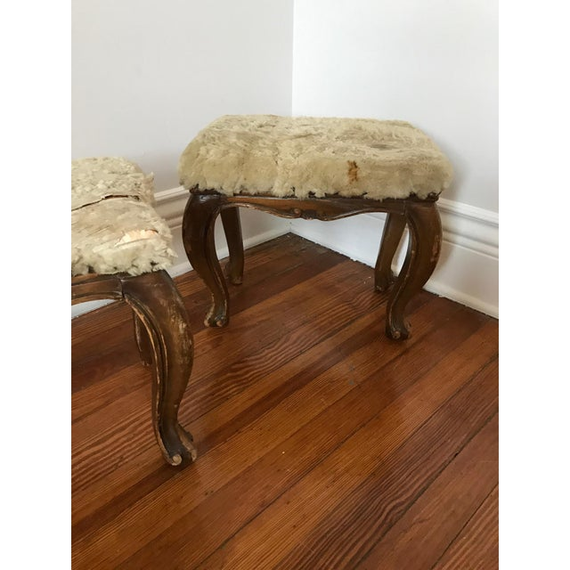Fur-Topped Distressed Antique Footstools - A Pair - Image 7 of 7