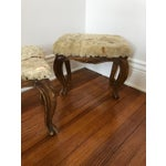 Image of Fur-Topped Distressed Antique Footstools - A Pair