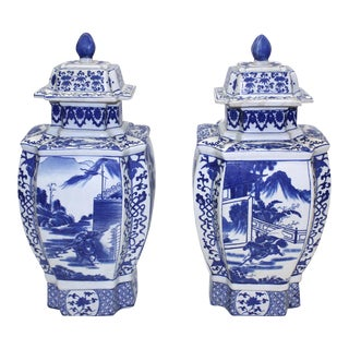 Chinese Porcelain Blue & White Urns - A Pair