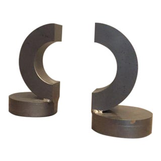 Vintage Modern Steel Bookends- A Pair