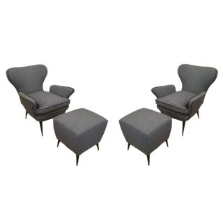 Pair of Mid-Century Armchairs with Foot Stools