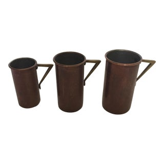 Art Deco Copper & Brass Measuring Cups - Set of 3