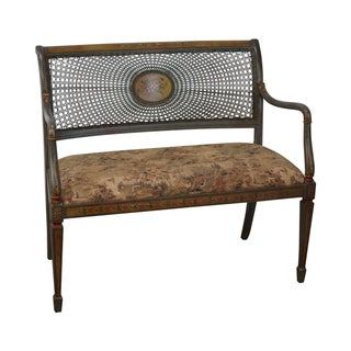 Hand Painted French Cane Back Settee by Emerson