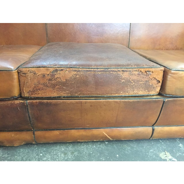Vintage Leather Mustache Sofa - Image 5 of 9