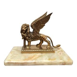 Brass Venetian Lion on Onyx Base