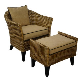 Barrel Back Rattan Lounge Chair & Ottoman