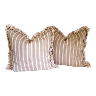 Striped Fringed Pillows- A Pair
