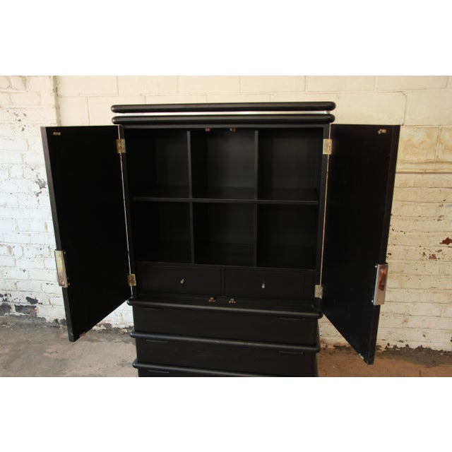 Jay Spectre for Century Cerused Oak & Chrome Armoire - Image 6 of 11