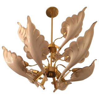 Italian Murano Mid-Century Two-Tier Brass Chandelier