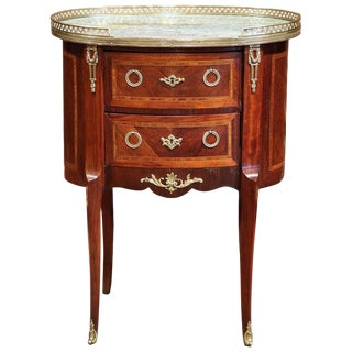 19th Century French Louis XV Rosewood Marble & Bronze Commode