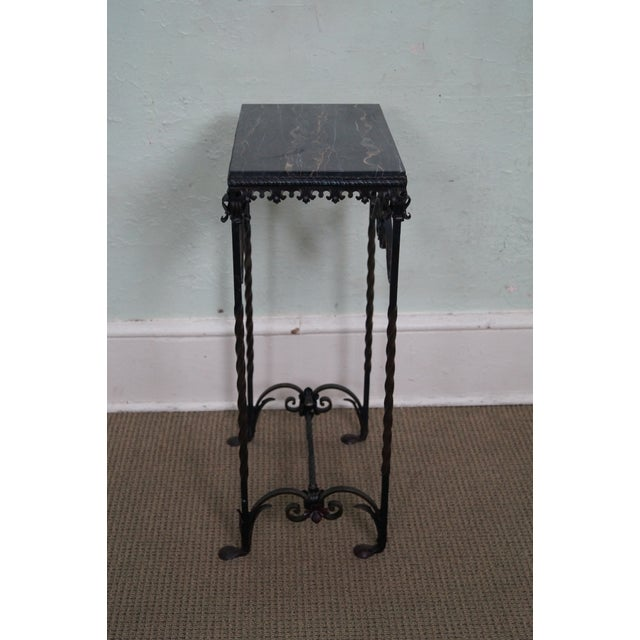 Image of Antique Gothic Wrought Iron Marble Console Table