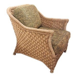 Mid-Century Jute/Natural Fiber & Animal Print Lounge Chair