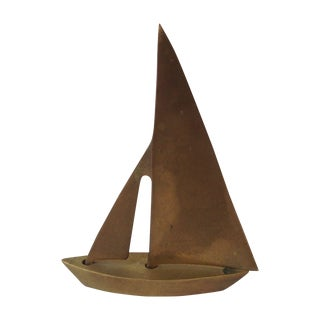 Vintage Brass Sailboat