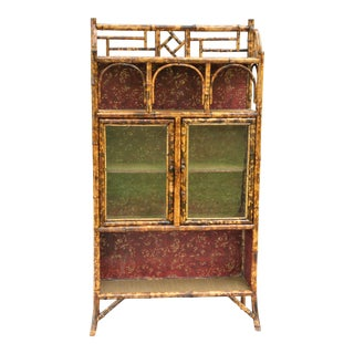 Antique French Tortoise Bamboo Cabinet