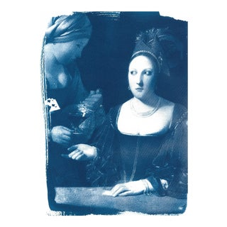 Limited Edition Cyanotype on Watercolor Paper, The Cheat by Georges de la Tour detail